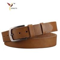 2017 luxury brand men's leather belt  genuine leather buckle belts for men  famous design cow skin jean strap  brown color