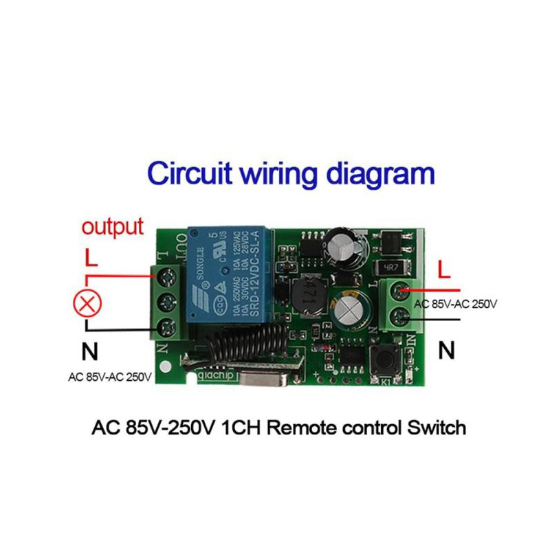 433MHz Universal Wireless Remote Control AC 110V 220V 1 Channel Relay Receiver Module 4 Button Remote Control RF Wireless Switch