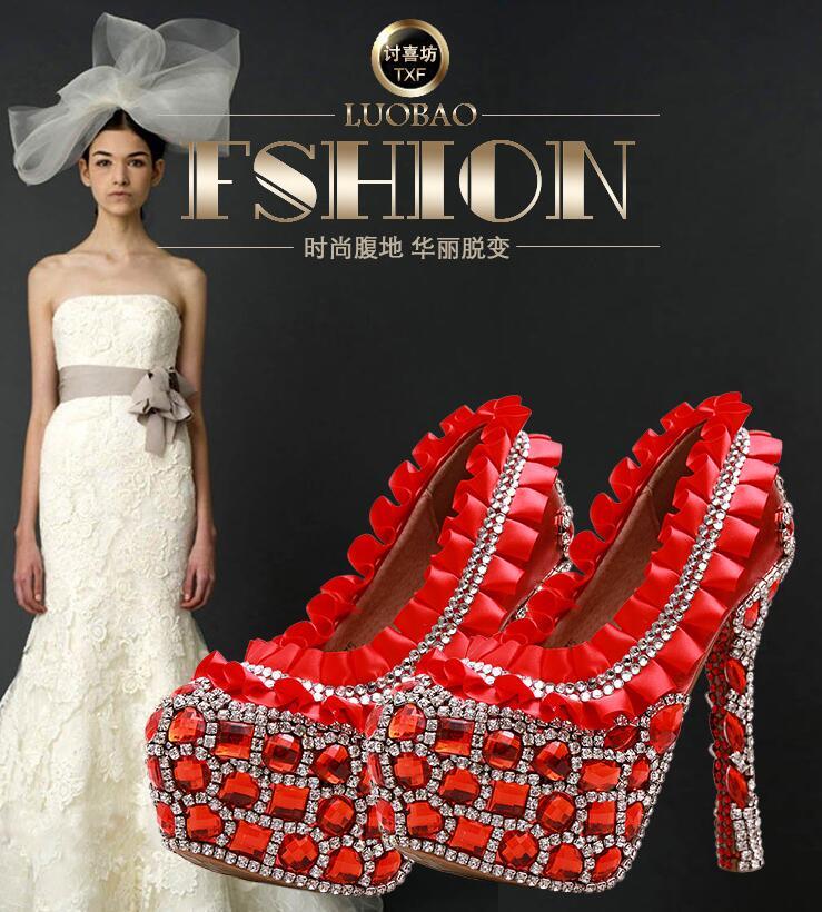 R-free shipping vogue sexy red flower wedding shoes women platform pumps girls cowhide leather rhinestone gem bride heels