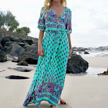 2019 Europe style  floor-Length female dress bohemian straight floral three quarter embroidery long woman