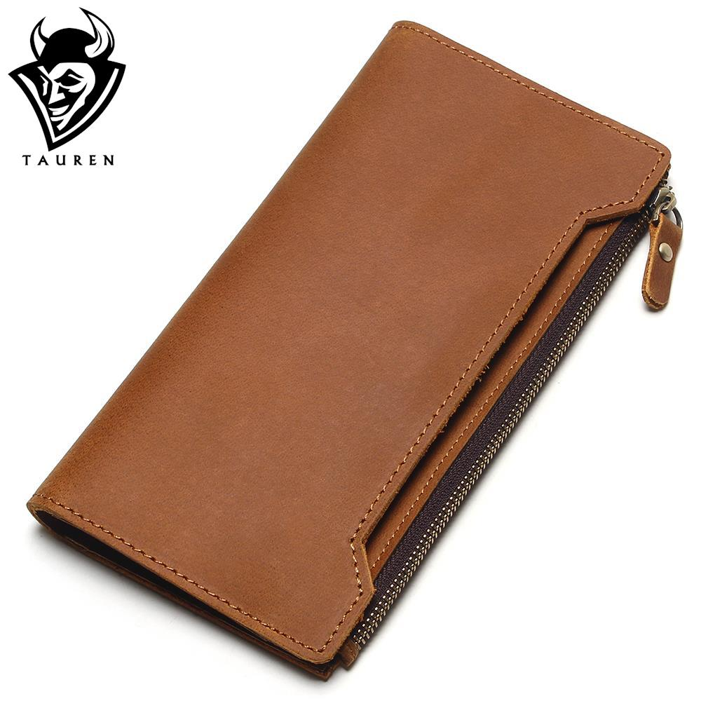 TAUREN High Quality 100% Genuine Cow Crazy Horse Leather Wallet Men Wallets 2018 Long Style Fashion Male Purse tauren 100