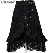 Женская юбка с высокой талией и цветочным кружевом, готическая юбка средней длины, Офисная черная юбка в стиле стимпанк 1950 s, винтажные юбки