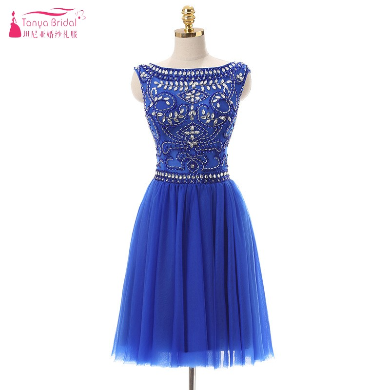 A Line Royal Blue Rhinestone Cocktail Dresses 2018 Knee Length V Back Tulle Formal Dress Party Women special occasion DQG125