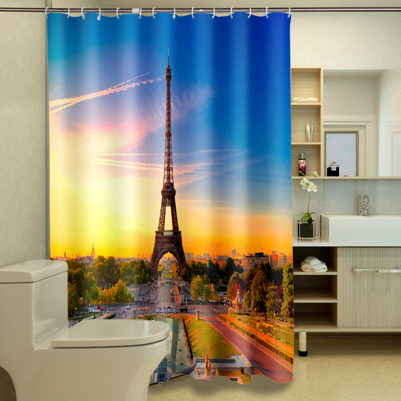 Beautiful Tower 3D Photo Digital Printing Bath Waterproof Fabric Shower Curtains