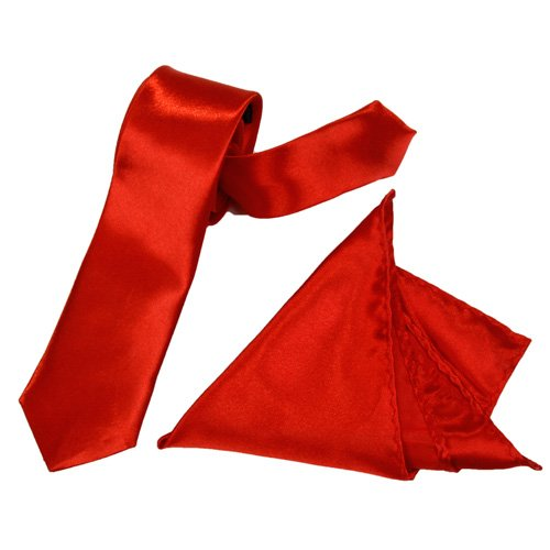 HOT SALE!A set of 5 cm wide red tie and 22 * 22 cm red handkerchief