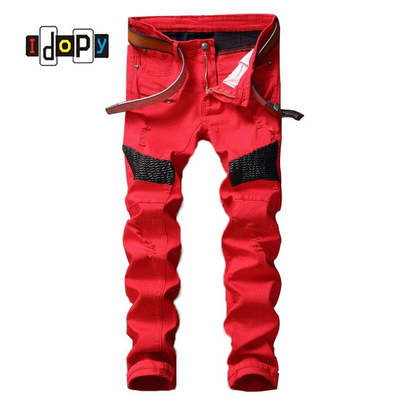 ФОТО Fashion Men's Designer Biker Jeans Leather Patch Men Draped Ripped Jeans Slim Fit Motorcycle Denim Pants For Men