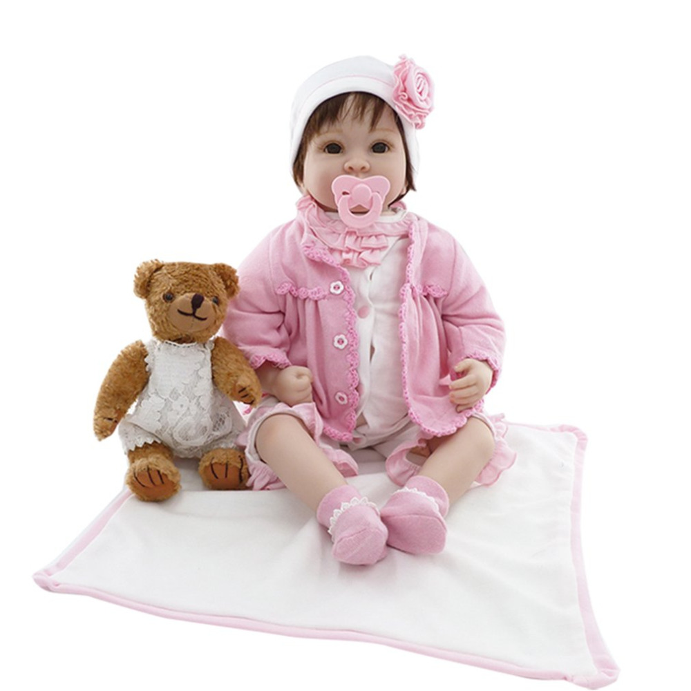 OCDAY 55cm Silicone Reborn Baby Doll Toy Cloth Body With Plush Teddy Bear Baby Alive Bebe Doll Kids Playmate Gift For Kids Girls
