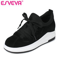 ESVEVA 2017 Wedges Med Heel Women Pumps Genuine Leather Lace Up Fashion Shoes For Spring Autumn