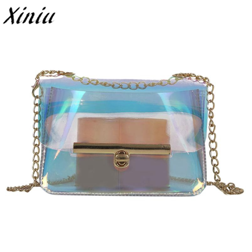 premier taux 29fff a1797 US $5.98 32% OFF|Women Transparent Bag Clear PVC Jelly Small Tote Messenger  Bags Laser Holographic Shoulder Bags Female Lady Sac Femme Bandoulier-in ...
