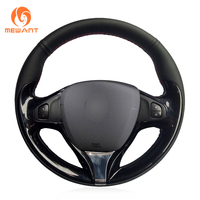 MEWANT Black Genuine Leather Car Steering Wheel Cover for Renault Clio 2013 2015 Captur 2014 2017