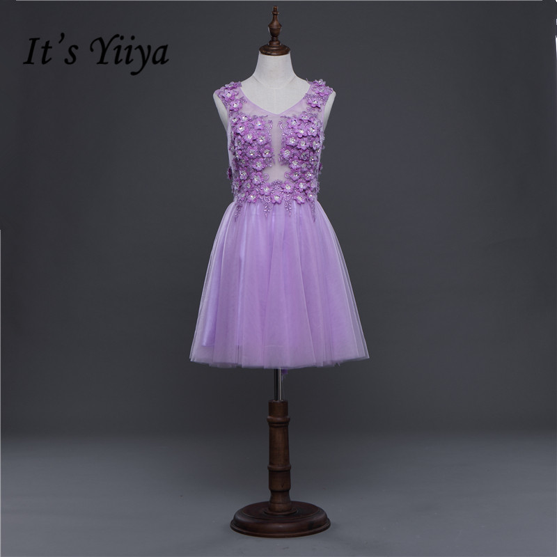 Free Shipping Purple Tulle V-neck Flowers Transparent Sex Mini Bridesmaid Dresses Girls Short Party Frock 2017 Summer LF298