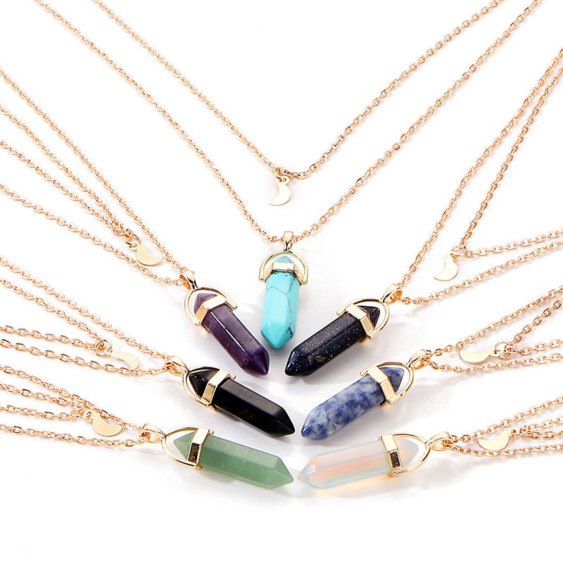Colgante de cristal púrpura Gargantilla Collar Mujer Piedra natural Ópalos dorados Cadena lunar Collares de doble capa Collier Femme