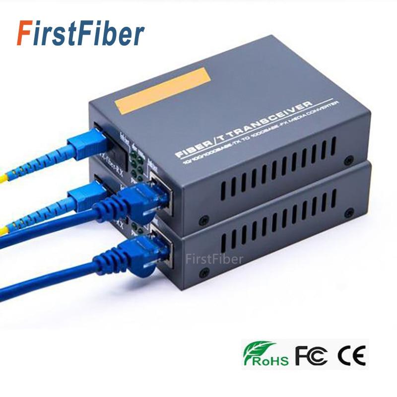 20km-Media-Converter Transceiver FTTH Fibra Optica Optic-Fiber Conversor-De-Fibra Gigabit