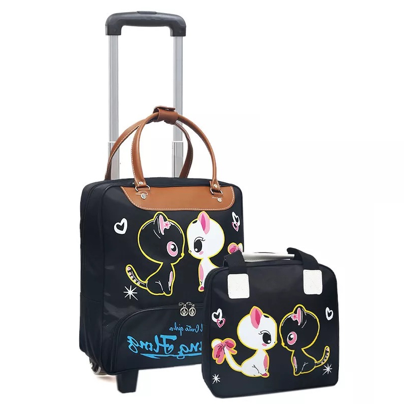 Rolling Luggage bag On Wheels Trolley suitcase with handbag Shopping for Girls vs kids Boarding Trolley