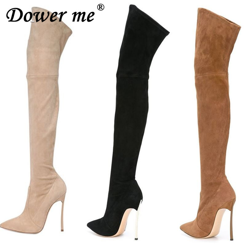 2017 Autumn Winter Women Boots Stretch Faux Suede Slim Thigh High Boots Fashion Sexy Over the Knee Boots High Heels Shoes Woman mudibear women fux suede thigh high boots fashion over the knee boot stretch flock sexy overknee high heels woman shoes red