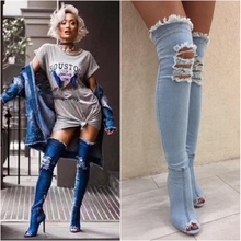 2018 Women Sexy High Heels Over The Knee Boots Peep Toe Hole Denim Zip Female Stiletto Party Jean Thigh High Boots Zapatos Mujer