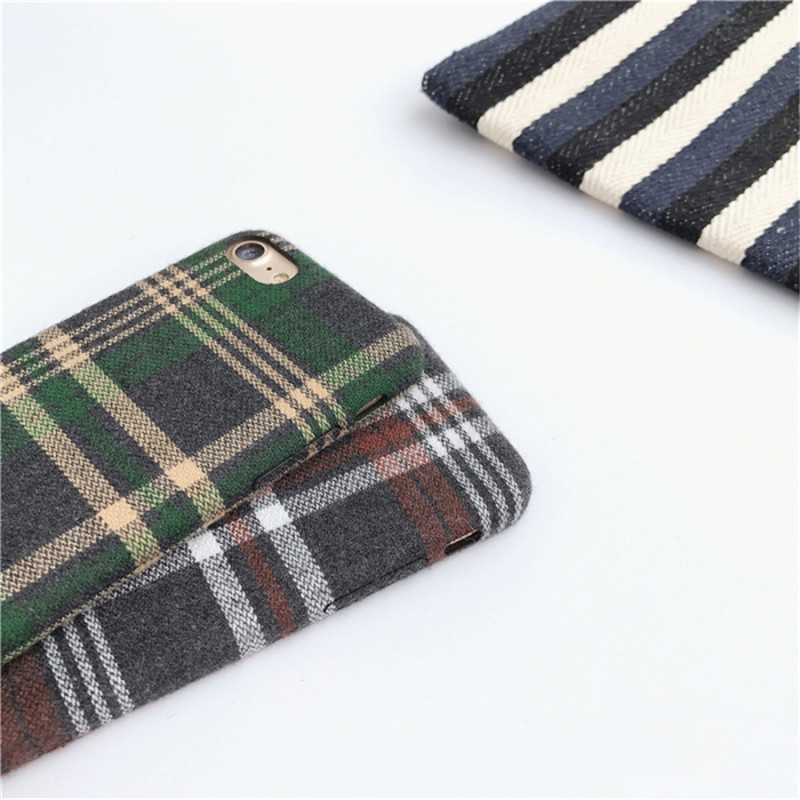 LUDI Britain style Grid Cloth Fabrics Grid Cloth Back Cover for iphone X 8 7 Plus Soft Phone Case for iphone 6 6S 66sPlus      4