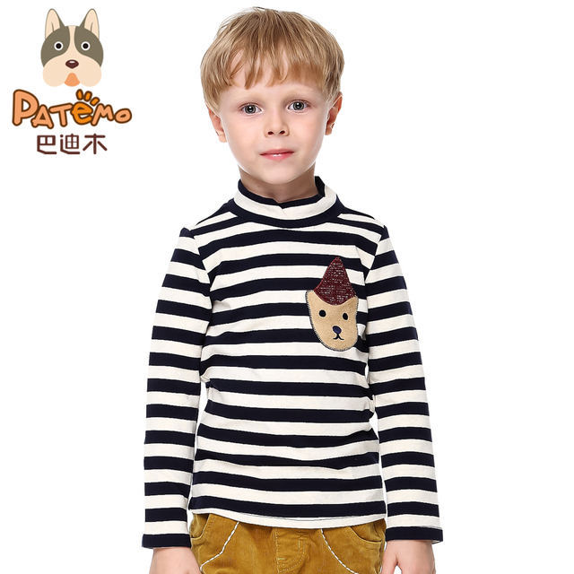 PATEMO Boys Full Sleeves T-shirts Thick Autumn/Winter Striped Turtleneck Children Boy Knitted Tops Warm Fashion Cotton Clothes