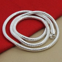 mens necklaces chains collar  925 Sterling Silver Necklace Fine Fashion 4mm Jewelry Snake Chains for men