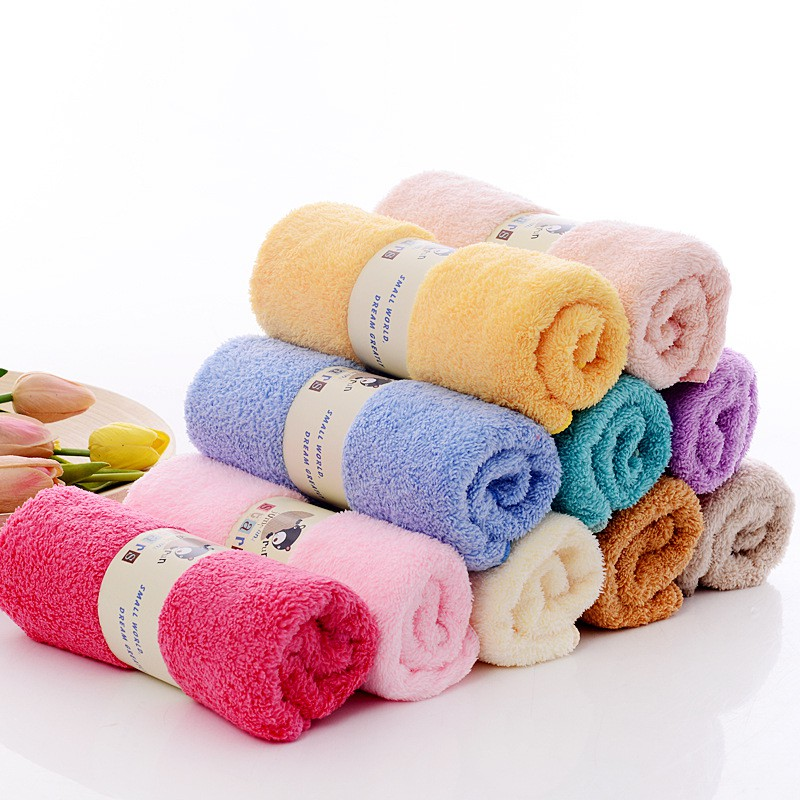 Baby Boy Girl 2 Pcs Set Cotton Beach Towel Quick Dry Bath Towel Washcloths Formaldehyde-free Solid Color Bath Towels Set