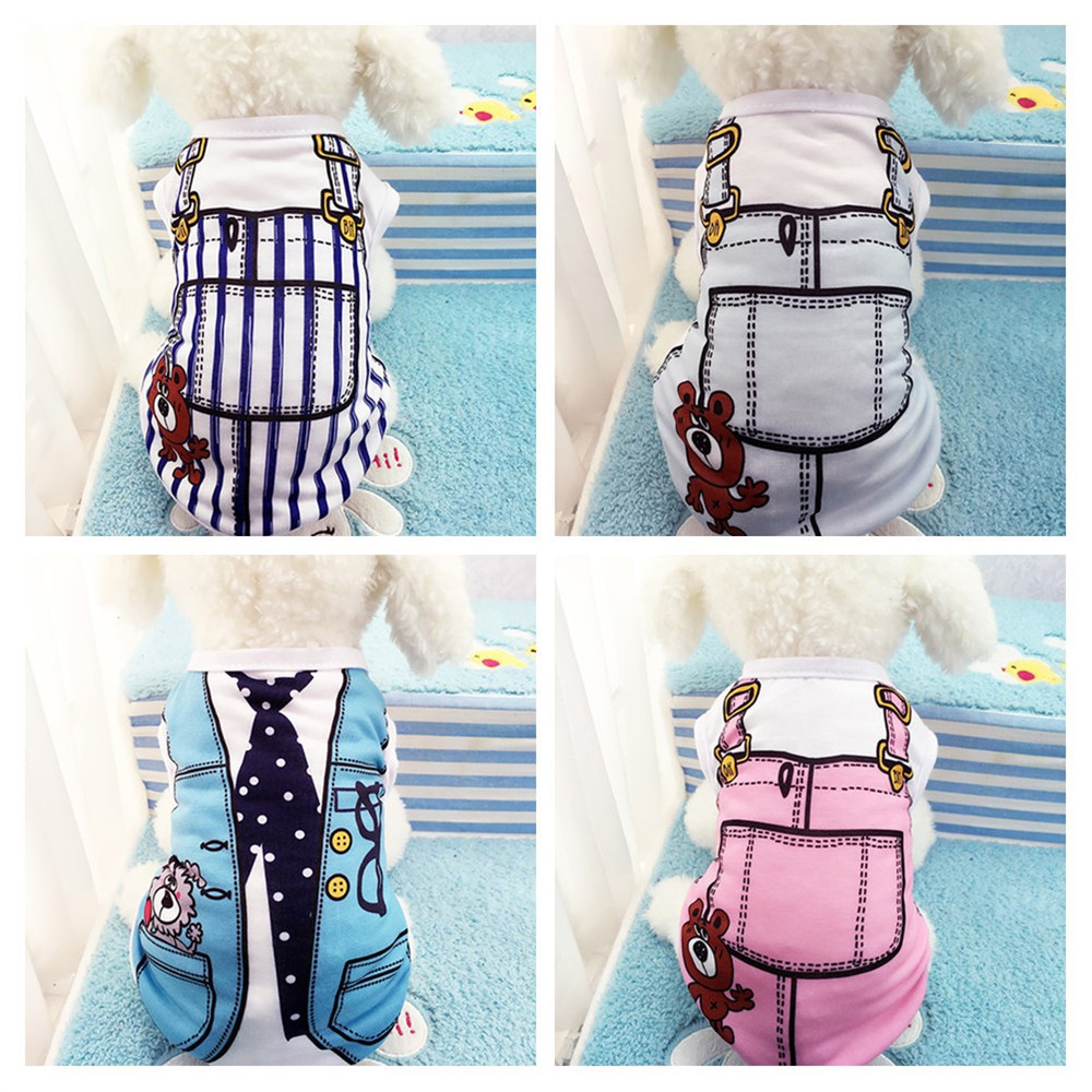 Spring Summer Dog Shirt Puppy Vest Cartoon Dog Cat T-shirt Clothing Funny Costumes Shirts Clothes For Small Dogs XS-XXL
