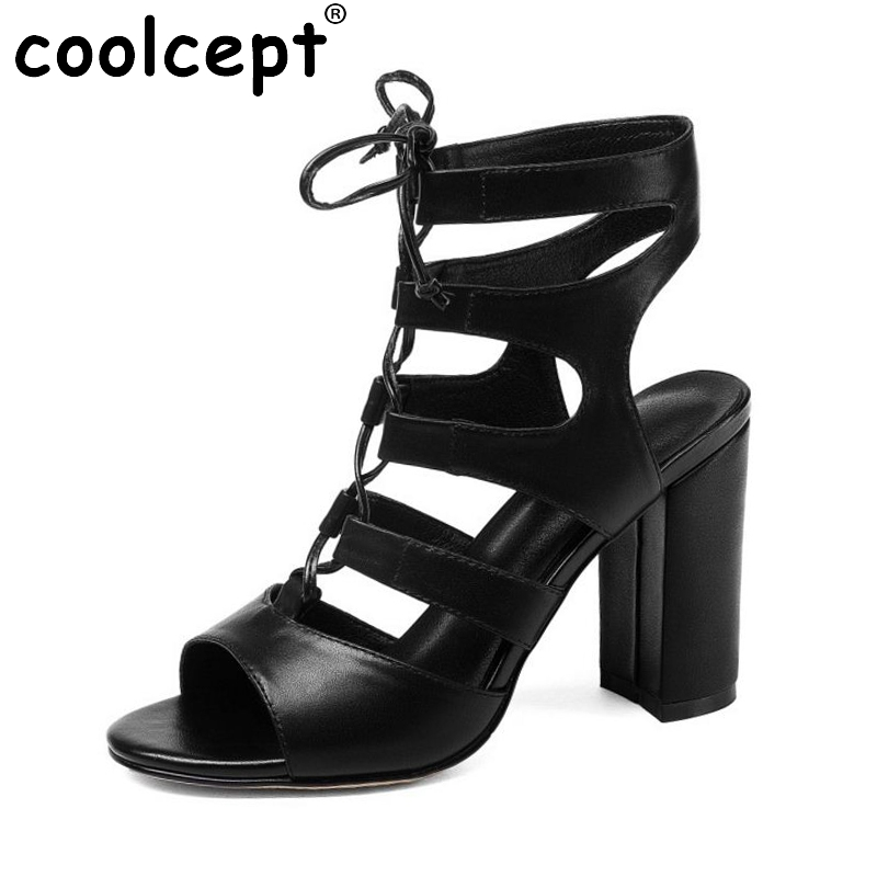 Coolcept Gladiator Women's High Heel Sandals Real Leather Open Toe Thick Heeled Sandals Summer Vacation Women Shoes Size 33-40 2016 package with high heeled sandals women s shoes formal platform thick heel open toe shoe 40 43 plus size women s small yards