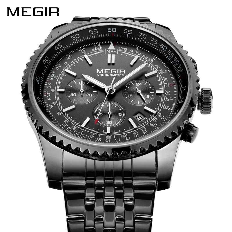 MEGIR Fashion Casual Quartz Watches Men Analog Top Brand Luxury Sports Wrist Watch Stainless Steel Watch Clock MALE Relogio nakzen men watches top brand luxury clock male stainless steel casual quartz watch mens sports wristwatch relogio masculino