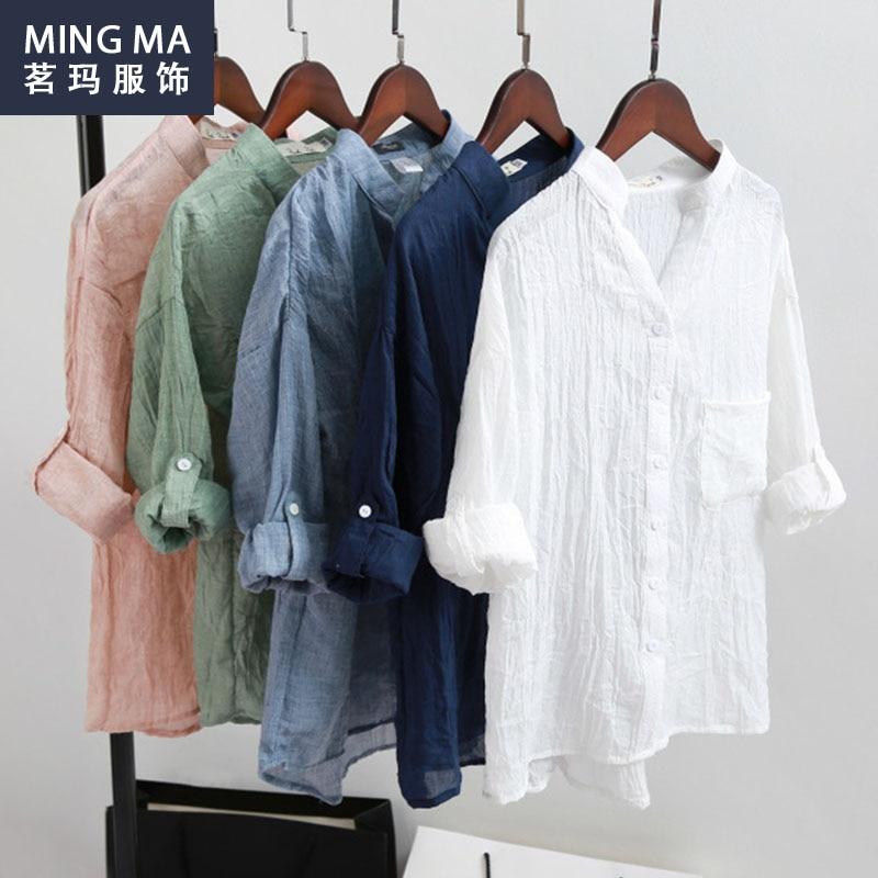Women blusas linen blouse shirts three quarter blouses for Womens linen shirts blouses