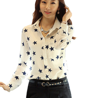 2017 Five Pointed Star Prints Stretch Elastic Chiffon Shirt Women Long Sleeve Casual Shirt Female Plus