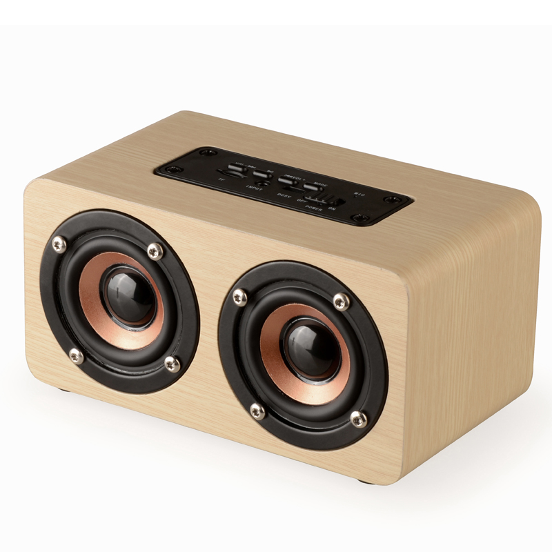 Wooden Wireless <font><b>Bluetooth</b></font> Speaker Portable HiFi Box Shock Bass Altavoz TF caixa de <font><b>som</b></font> Soundbar