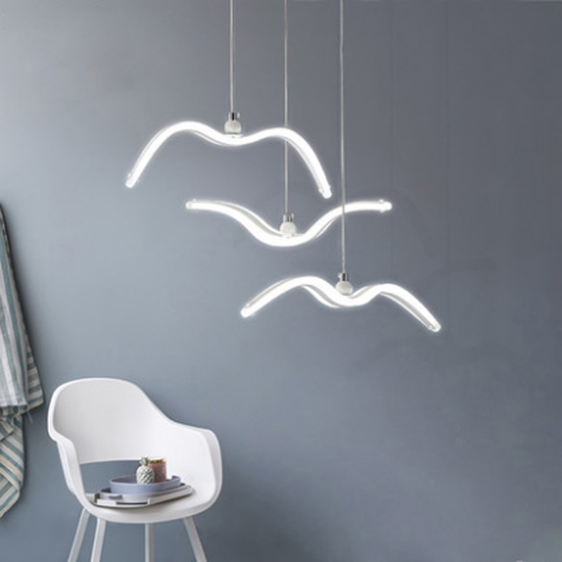 Us 28 96 10 Off Modern Creative Seagull Design Acrylic Pendant Lamp Nordic Simple White Aluminum Bedroom Decoration Bird Led Lighting In