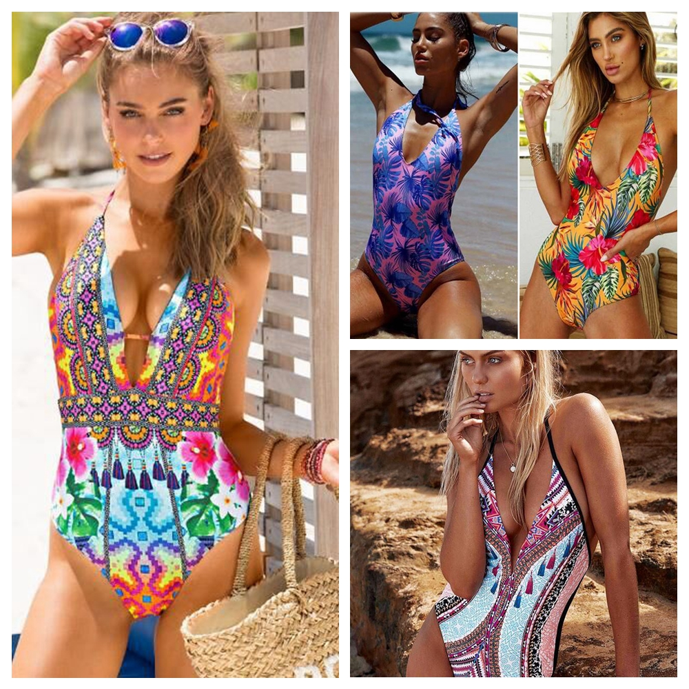 <font><b>2019</b></font> One Piece Swimsuit Female Swimwear Women Printed Bathing Suit Bodysuit Swim Wear Beachwear Monokini <font><b>Sexy</b></font> Biquini Bather image