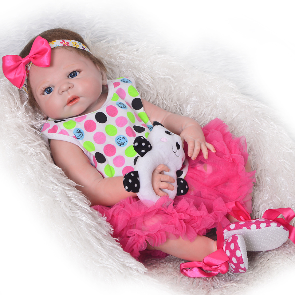 Full Silicone Vinyl Reborn Baby Doll Realistic Girl Babies Dolls 23 Inch 58 cm Lifelike Princess Kids Toy Children Birthday Gift 16 inch silicone reborn babies reborn doll cute full silicone baby doll for children girl birthday gift
