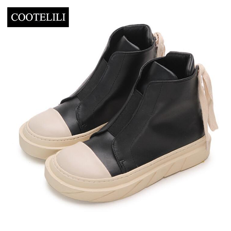 COOTELILI Ankle-Boots Sneakers Rubber Shoes Girls Autumn White Women for Fashion Brand