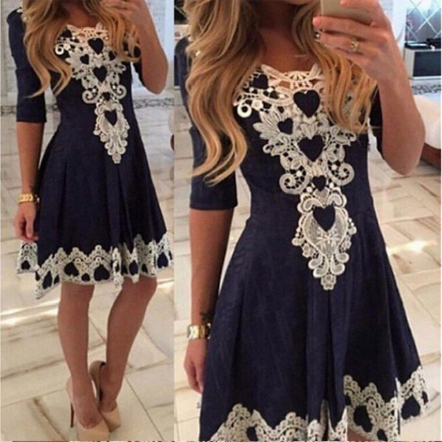 Women Party Dress V-Neck Half Sleeve Sexy Evening Lace Dresses Navy Blue  Plus Size vestidos femininos 709d671fcaa9