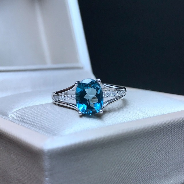 [MeiBaPJ]Classic Big Natural London Blue Topaz Gemstone Ring for Women Real 925 Sterling Silver Fine Jewelry