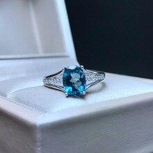 [MeiBaPJ] קלאסי גדול טבעי לונדון טופז הכחולה חן טבעת לנשים אמיתי 925 כסף סטרלינג תכשיטים