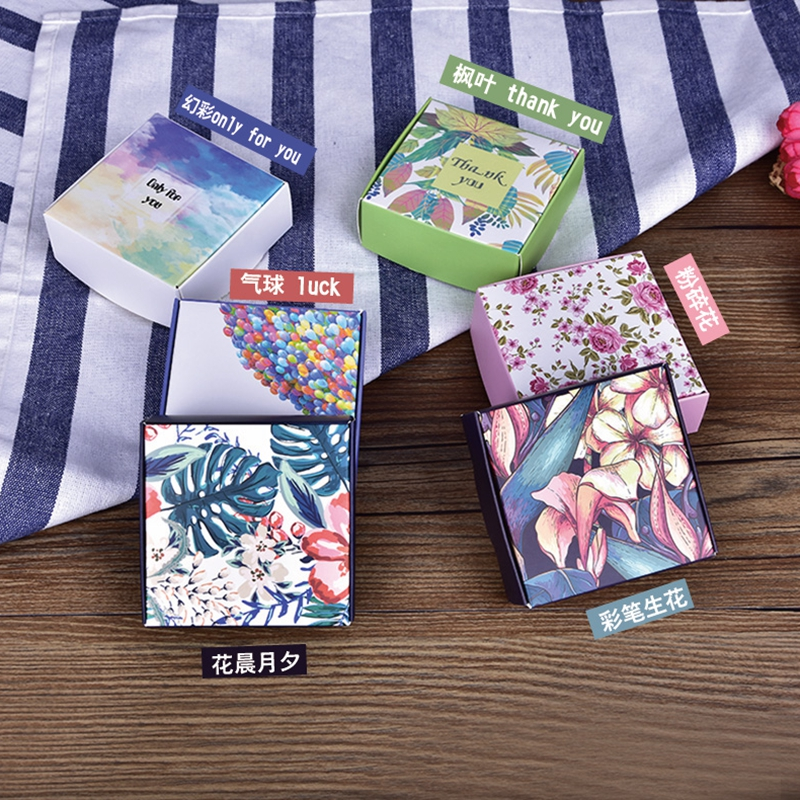 50pcs Printed Flower Paper Box Jewelry Gift Box Wedding Favors Candy Box Soap Packaging Boxes image
