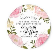 1.5inch Modern Vintage Pink Floral Wedding Thank You Favor Classic Round Sticker