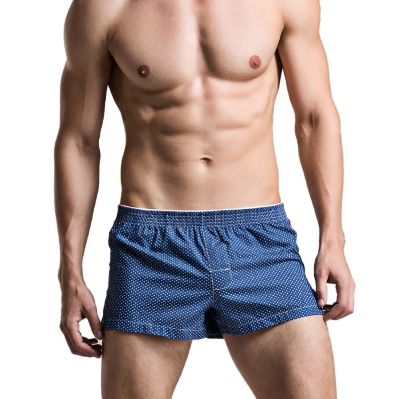 Sexy Men Boxer Underwear Lattice Plaid Dot Shorts Pull In Gay Print Cuecas Bermuda Male Panties