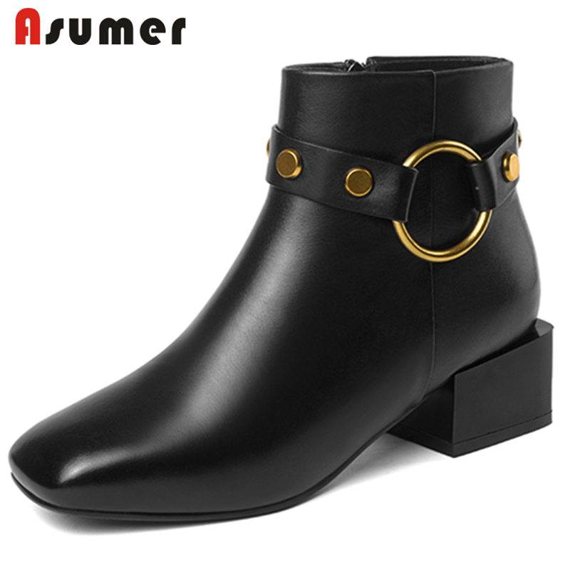 ASUMER HOT SALE 2018 fashion buckle genuine leather boots thick med heels ankle boots for women square toe autumn winter bootsASUMER HOT SALE 2018 fashion buckle genuine leather boots thick med heels ankle boots for women square toe autumn winter boots