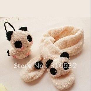 J5 Warmer you winter, Plush panda Earmuffs and scarf set, soft and comfortable