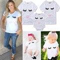 2017 moda de verão da família roupas combinando bebê meninas clothing olhos lip imprimir branca t-shirt pai-filho mãe roupas de menina