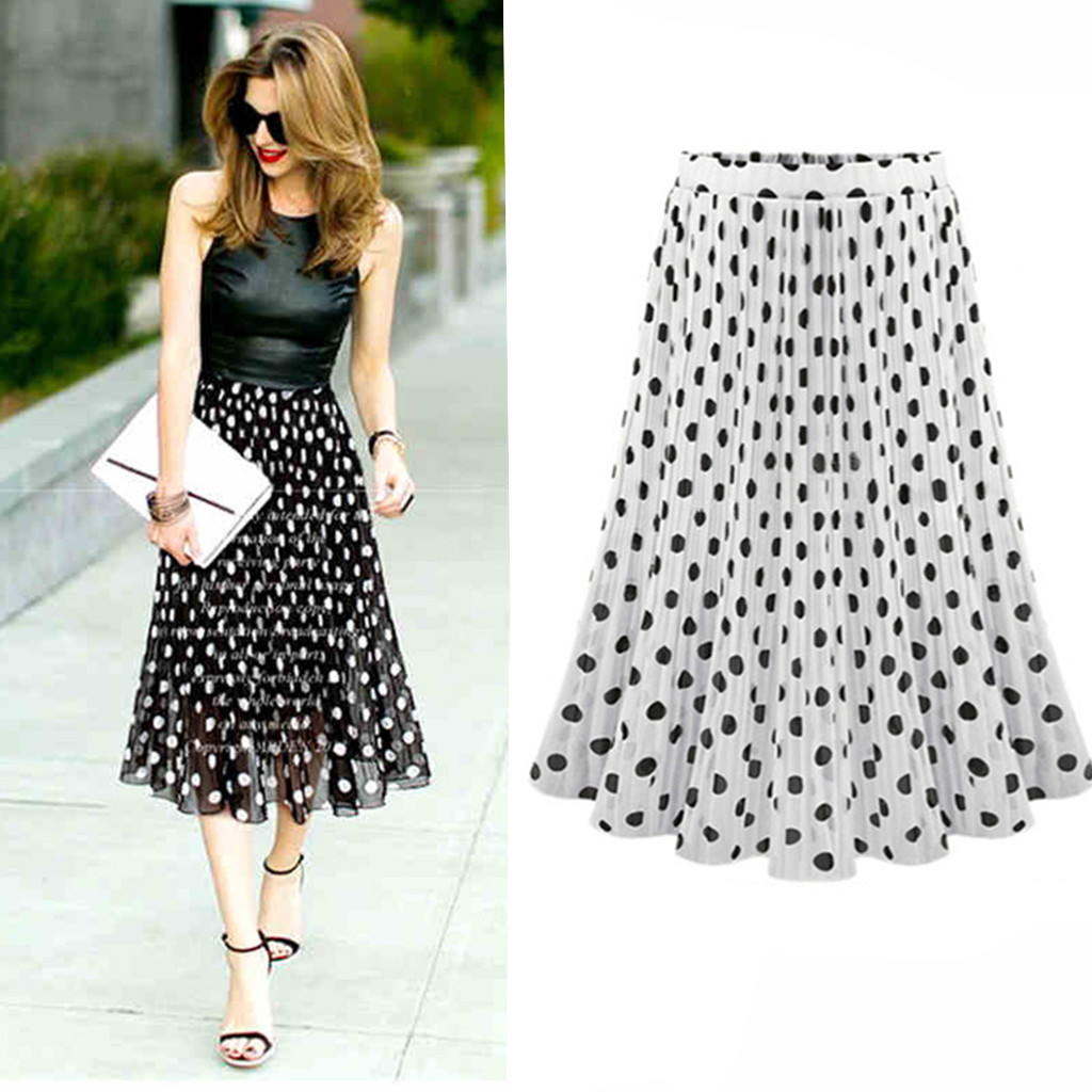 2020 Newly Fashion Summer Plus Size Skirt Womens Polka Dot Pleated Casual High Waist Midi Skirt Flared Skater Swing Holiday  50