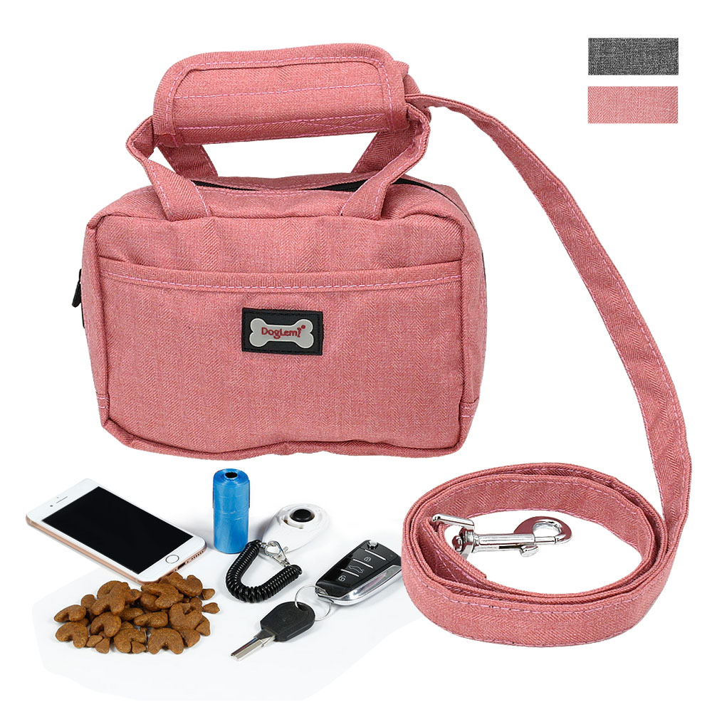 Dog Leash Bag Pet Treat Training Pouch Walking Leash Poop Bag Dispenser and Pet Waste Holder Carries Treats Kibble Phone Keys