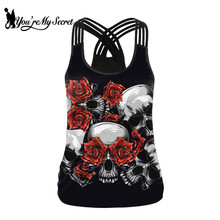 [You're My Secret] Summer Fashion 3D Printing Skull Tank Tops For Women Vest Top Gothic Red Rose Sexy Backless Sling Top Black футболка top secret top secret mp002xw0e5po