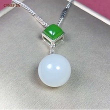 Certified Natural Hetian Jade Inlaid 925 Sterling Silver Handmade Lucky Pendant White Green High Quality Wonderful Gifts