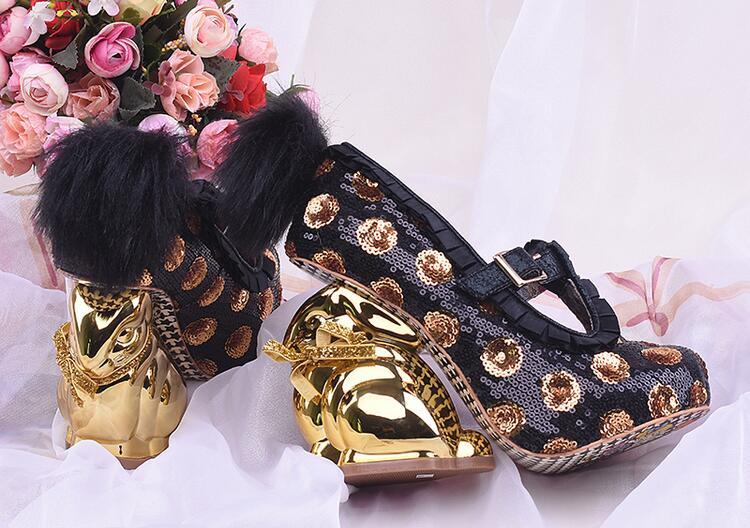 Rose Nouveauté Style Profonde Haute Peu Lapin Ruches De Chaussures Parti Talons Bling Pompes Femmes Or Étrange Pink Mode awqr6Xa