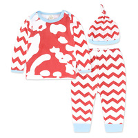New Arrival 100 Cotton Baby Girl Newborn Long Sleeve Clothes Pants Hat 3 Pcs Suit Outfits