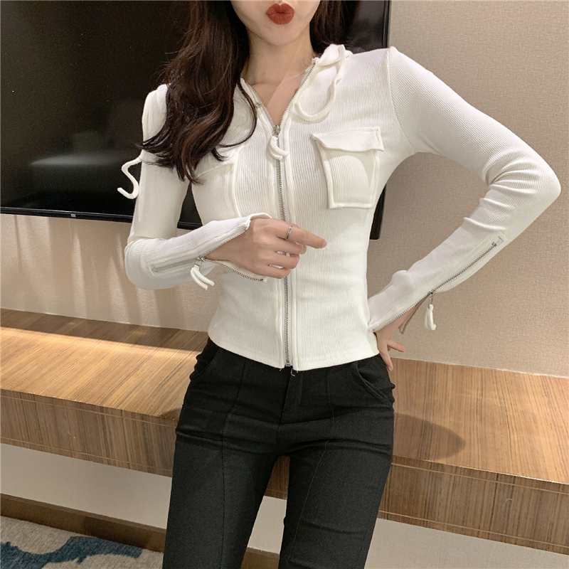 2019 Spring and summer Women's Clothing Jackets new coats and jackets women full vintage solid pockets Simple slim zipper 24